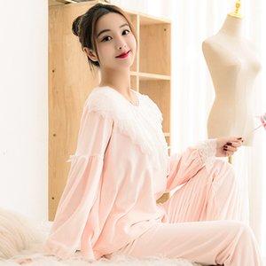 Autunno Inverno Home Service donne più spessa flanella visone velluto a maniche lunghe dolce sveglia principessa coreana Pajamas Suit