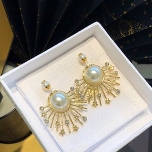 2020 New Design Classic Sun Fireworks Pearl Earrings Fashion Joker Free Delivery