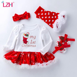 LZH 2020 New Baby Girls Christmas Snowflake Long Sleeve Romper Dress 4Pcs Set 0-2 Years Cotton Santa Claus Newborn Baby Clothes