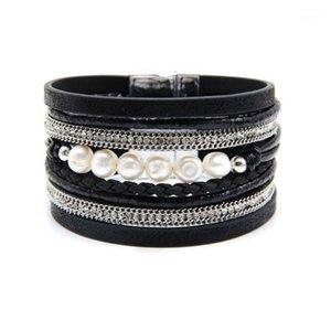 Очаровательные браслеты мода кожаная кожаная веревка для женщин сплава цепь магнитные зажима многослойные обертки жемчужное браслет браслет ювелирные изделия1