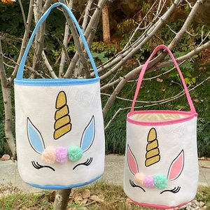 Bolsas de canasta de unicornio Pascua brillo niños niños dibujos animados lienzo bolso bolsa de huevo caramelos regalo bolso bañador cestos cestas CYF4579