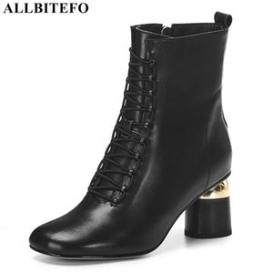 ALLBITEFO size 34-43 real genuine leather women boots fashion autumn winter high heel shoes motocycle boots women's ankle
