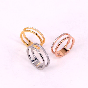 Hollow Double Layer Diamond Couple Rings Korean Fashion Titanium Steel Rose Gold Gold Plated Index Finger Ring