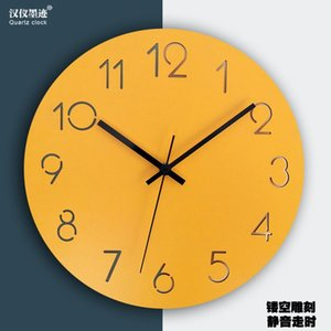 Nordic Large Wall Clock Wall Watch Wood Modern Living Room Bedroom Silent Yellow Clocks Office Kitchen Pendule Mural Decor SC409
