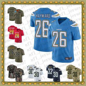 2020 Personalizzato Mens Youth New Los Angelescaricabatterie26 Casey Hayward 30 Austin Ekeler Blue Football 100th Season Vapor Limited Jersey