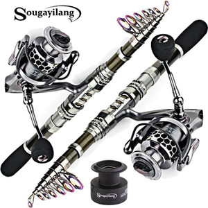 Sougayilang Carbon Fiber Spinning Fishing Rod and 13+1BB Fishing Reel Combo Telescopic Fishing Pole Spinning Reel Kit B1203