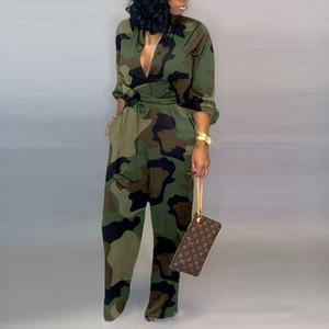 새로운 유행 여성 위장 인쇄 플러스 사이즈 긴 소매 bodycon jumpsuits 캐주얼 랩 벨트 버튼 아래로 여성 전반
