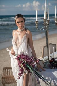 Meital Zano 2021 Boho Wedding Dresses Deep V Neck Beading Sexy High Split Vintage Chiffon Gothic Bridal Wedding Gowns Vestidos De Novia