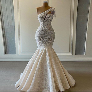 Lace Mermaid Wedding Dresses One Shoulder Beaded Tassels Lace Applique Plus Size Bridal Gown Luxury Gowns vestidos de novia