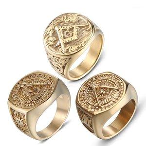 Freimaurer Freier Mason Ring für Männer Gold Edelstahl AG Freimaurer Ring Freimaurer Schmuck Punk Herren Geschenk Größe 8-131