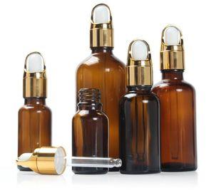 Botellas de gotero de vidrio ámbar 5 ml / 10 ml / 15ml / 20ml / 30ml / 50ml / 100 ml paquete de aceite esencial botella de botellas de aromaterapia líquida al por mayor HWC4110