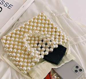 New Retro woven Mary pearl handbag fashion lady party with shoulder bag basket pearl lady bag Handbag Pearl Bag