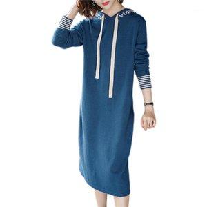 Mulheres de malha vestido 2019 novo outono solto moletom pulôver mola mid-longa seção selvagem camisola de manga longa vestido de fundo lj1921