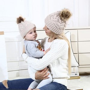 Parent-child knitted Beanie Hat Winter Autumn Pom pom Ball Women Mom Boys Girls Cute Baby Warm Infant Cap