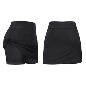 2 Pcs Skirts Inner Shorts Elastic Sports Golf Skorts with Pockets Fit Yoga Fitness Running-S & M