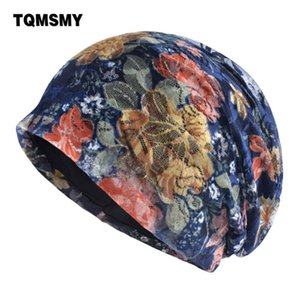 Skullies Gorro mulher TQMSMY Casual Women Lace Flower malha Beanie Hat Ladies malha Primavera-Verão Cap de Mulheres Gorros TMC101