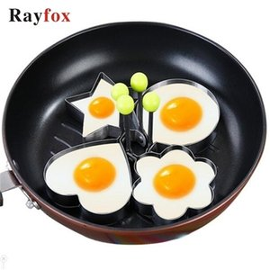 Rayfox 4pcs set Stainless Steel Egg Mold Pancake Rings Fried Mould Shaper Kitchen Cooking Tools Accessories Gadgets