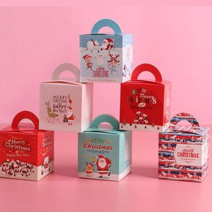 6pcs Christmas Apple Box Merry Christmas Tree Packing Box Favor Bag Gift Cookie Candy Folded Decoration Kids Gift