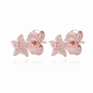 New Original Real 925 Sterling Silver Earring Rose Beaded Starfish Silver Stud Earrings For Women Wedding Gift Fashion Jewelry