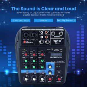 Professional 4 Channels Audio Mixer DJ Sound Mixing Console External Sound Card for Computer Audio Interface 48V Phantom Power