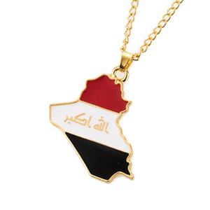 Repubblica di Iraq Mappa Bandiera Collana pendente per donna / uomo Gold Colory Jewelry Maps of Iraq Collanes
