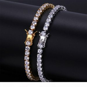 4MM 6MM Men's Iced Out Cubic Zirconia Bling Bling 1 Row Tennis Bracelet Hip hop CZ Simulated Diamonds Shine Triple Lock Clasp Bracelets
