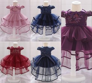 style Newborn Baby Girl Dress Full Moon Embroidered Layered Birthday Doll Collar Princess Trailing Dresss For Kids Clothes