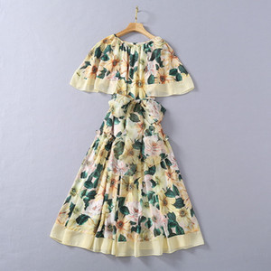 European and American women's clothing 2021 The new spring Floral print with flounces lace-up Fashion dress