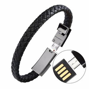 Bracelet en cuir Câble de chargeur Type-C USB Bracelet Chargeur Données de chargement Câble de charge Cordon de synchronisation 22.5cm Chargement rapide pour le cadeau de câble téléphonique Android
