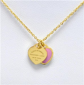 Fysafa Green Pink Forever Love Letter Pendant Necklace Statement Choker Enamel Luxury Double Heart Short Necklace For Women Gift sqclsn