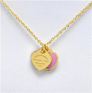 Fysafa Green Pink Forever Love Letter Pendant Necklace Statement Choker Enamel Luxury Double Heart Short Necklace For Women Gift sqclsn