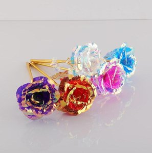 Light Up Flashing Rose Flower Valentine Day Gift 24k Gold Foil Plated Rose Lasts Forever Rose for Valentines Day Girl Gifts Toys E120303