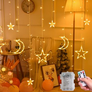 Battery Operated LED Star Moon Fairy Curtain String Lights Christmas Garland Outdoor For Home Wedding Party Garden Window Decor Q1127 Q1128