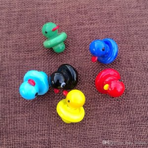 100pcs Glass Yellow Duck Carb Caps Domeless UFO Carb Cap Smoking Accessories For Thermal P Quartz Banger Nails DHL Free