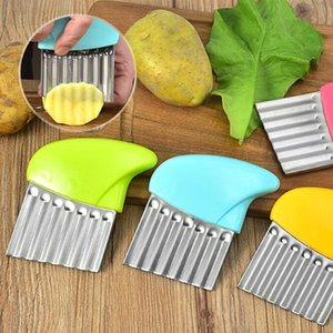 Stainless Steel Mirror Light Cut Potatoes Chip Chopper Wavy Cutter Corrugated Knife Sliced Potatoes Kitchen Fruit Vegetable Tools HA1484