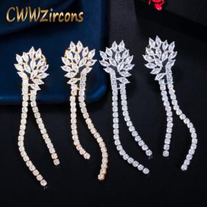 Dangle Avize Cwwzirkons Köpüklü Beyaz Kübik Zirkon Uzun Püskül Bırak Küpe Dubai Altın Renk Kadınlar Düğün Takı CZ777
