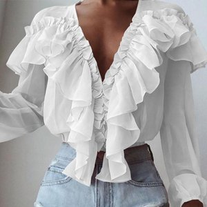 2021 Summer Women Fashion Blouse Celmia Long Sleeve Shirt Ruffles Sexy Deep V-Neck Elegant Casual Office Clothes
