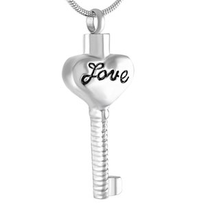 IJD9409 Engraved Love Heart To Key Cremation Pendant Ashes Holder Keepsake Stainless Steel Memorial Urn Jewelry With 4 Colors
