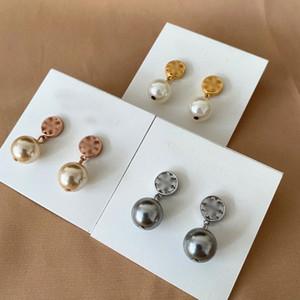 NOUVEAU REAL 18K Plaqué Or 3Colors Pearl Stud Dorp Charme Boucles d'oreilles Drop Boucles d'oreilles Populaire à la vente à chaud