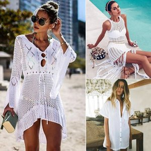 Sexy Cover Up Bikini Women Swimsuit Cover-up Beach Bathing Suit Beach Wear Knitting Swimwear Mesh Beach Dress Tunic Robe LJ200815