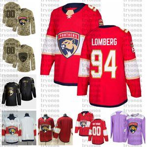 2021 Настройка № 94 Райан Ломберг Флорида Пантеры Пантеры Ryan Lomberg Golden Edition Camo День ветеранов борется с раком на заказ сшитые хоккейные изделия