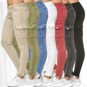 Jeans Woman Spring and Autumn New Solid Side Stand Skinny Pencil Pants 7 Color Plus Size 3XL