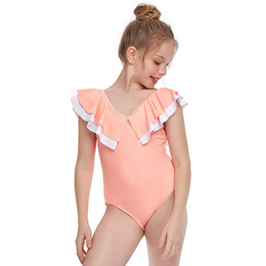 Um 2021 Venda Quente Crianças Swimwear Criança Moda Equipamento de Praia Esportes Água Esportes Rosa Vermelha Stripe Roxo One-Piece Swimming Summer