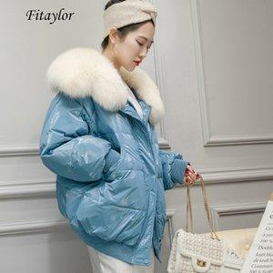 Fitaylor Winter 90% White Duck Down Parka Warm Large Real Fox Fur Collar Loose Breadwear Female Bright Side Streetwear Outwear LJ201124