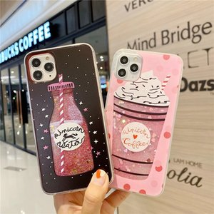 New Arrival High quality Hot sale Cute Drink Bottle Ice Cream Glitter Star Dynamic Liquid Quicksand Phone Case For Apple 12