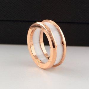 Classic thread wide ceramic ring, men and women with titanium steel letter ring, titanium steel lovers ring