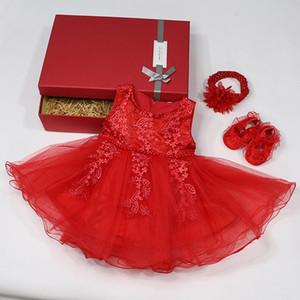 Yoliyolei 1-й год день рождения платье с подарочной коробке лето детские девочки платья для детской принцессы крестия вечеринка новорожденная одежда Z1214