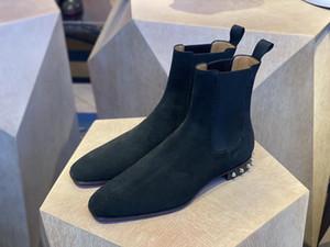 Designer de inverno masculino fundo vermelho tão roadie flats famoso tornozelo botas preto camurça couro homens motocicleta cavaleiro botas andando sapatos melhor presente