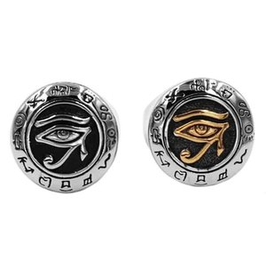 Egyptian Eye of Horus Ra Udjat Amulet Ring Stainless Steel Jewelry Gold Retro Motor Biker Mens Boys Ring Wholesale SWR0703B