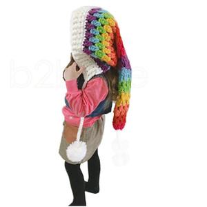 Kış kalınlaşmış sıcak şapkalar çocuk yün tığ şapka gökkuşağı uzun kuyruk şapka kız renkli prenses kap gwa2692
